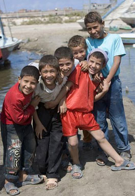 Come on! Lets go Egypto: Boys make a natural pose near Rosetta on the Egyptian North Coast