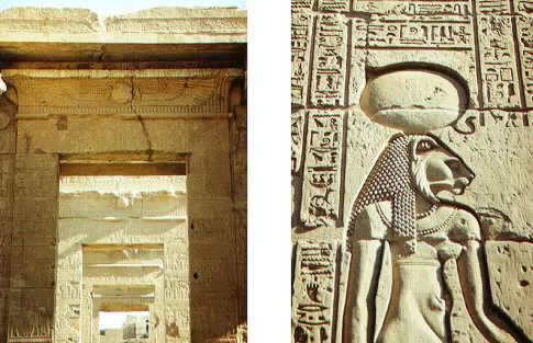 Doorways at the Temple of Kom Ombo and  Picture of a goddess at Kom Ombo
