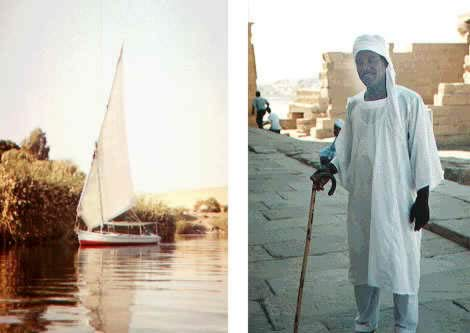 Felucca at Aswan and Nubian guide at the Island of Philae