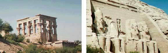 Relocated temple at the Island of Philea and Ramses II at Abu Simbel guarding the boundary to Nubia