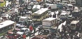 Traffic in Downtown Cairo near Tahrir Square