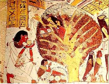 A tree goddess offers libations to Panehsy in his 18th Dynasty tomb