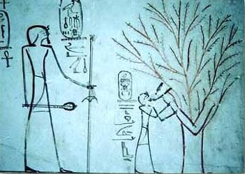 A crude depiction of Tuthmosis III suckling Isis in her guise as a Tree Goddess