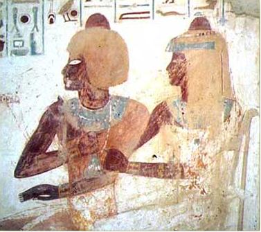 Userhat and his wife, Mutneferet in his tomb number TT56 on the West Bank at Luxor