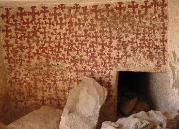 Another of the tombs at el-Bersha clearly showing Coptic occupation