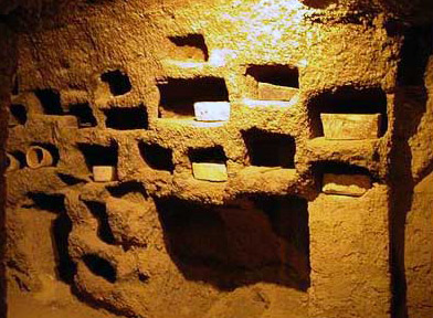 Niches in the catacombs at Tuna el-Gebel