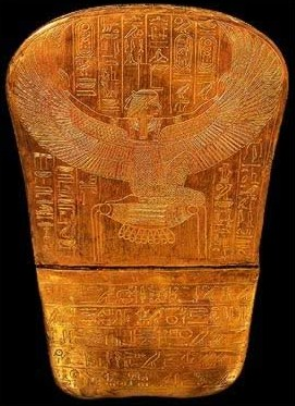 The image of a winged Isis inscribed very finely beneath the foot of Tutankhamun's innermost coffin.