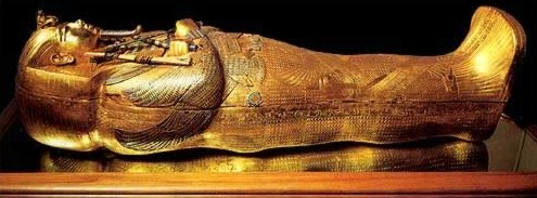 Another view of the innermost gold coffin of king Tut