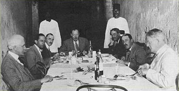 Principal members of the Tutankhamun team included, from left to right, Breasted, Burton, Lucas, Callender (at the head of the table, Mace, Carter and Gardiner