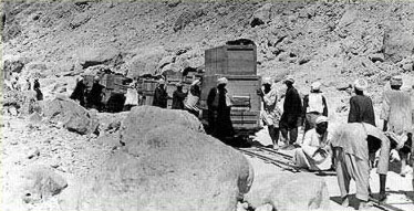The narrow guage  train used to transport items from the tomb to the river for shipment to  Cairo