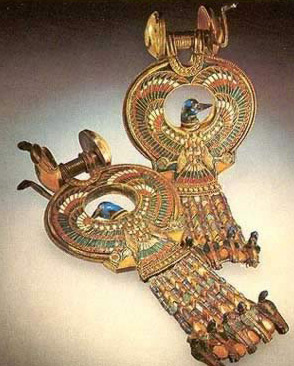Gold cloisonne earrings representing birds with ducks' heads and falcons' wings