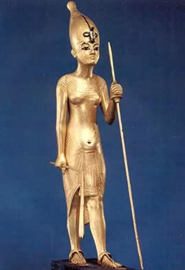Small gilded wooden figure of Tutankhamun