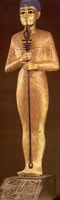 Small figure of the God, Ptah, made of gilded wood