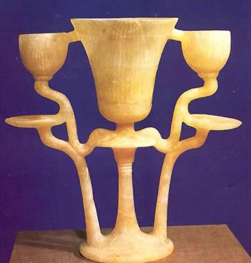 Triple lamp carved from a single piece of alabaster