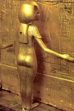 Figure of Goddess Isis protecting Tutankhamun's shrine