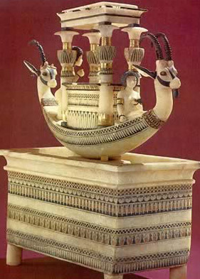 Alabaster model of unknown use with ibex headed boat and sarcophagus amidships