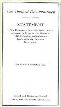 A pamphlet privately printed by Howard Carter