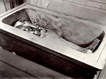 King Tut's coffin in his  sarcophagus