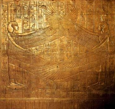 Isis and Nephthys spread  their wings protectively over the interior end panel of the third ourter  Shrine (No 238).