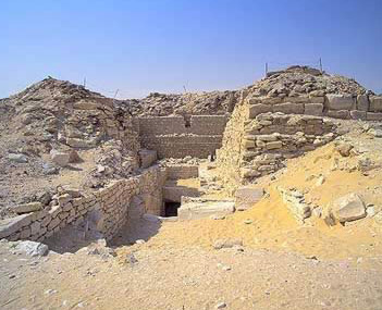 Entrance to Lepsius Pyramid No. 24 at Abusir in Egypt