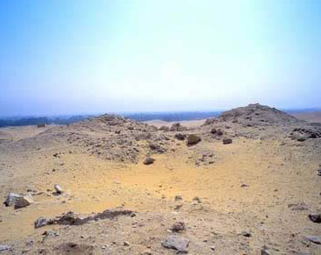 A view of Lepsius Pyramid No. 25 at Abusir in Egypt