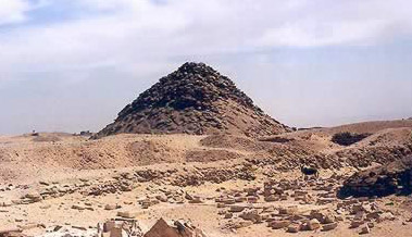 A view of the Pyramid of Userkaf at Saqqara in Egypt