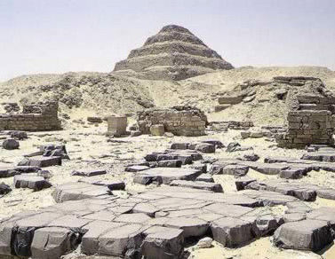 A view of the Pyramid and mortuary temple  of Userkaf at Saqqara in Egypt