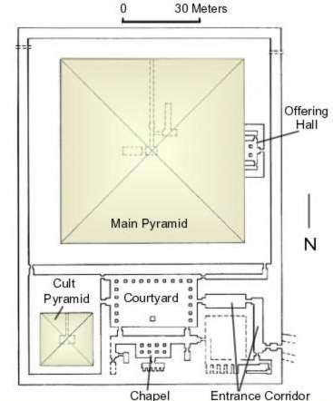 Ground Plan of the Pyramid of Userkaf at Saqqara in Egypt