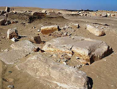 Much of Userkaf's sun temple is now little more than a debris field at Abusir, though here is a view of the pedestal