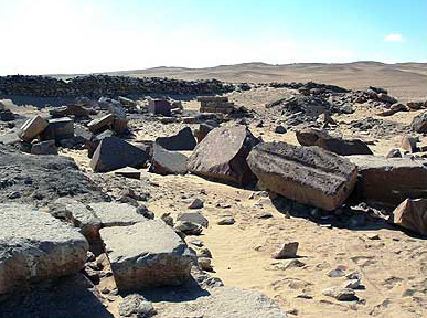 Another view of the debris making up the ruins of the Sun Temple of Userkaf at Abusir