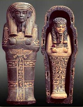 Shabti of Huy with Model Coffin of Polychrome Faience