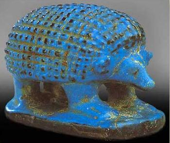 A hedgehog in Blue Faioence from the Middle Kingdom discovered in Western Thebes