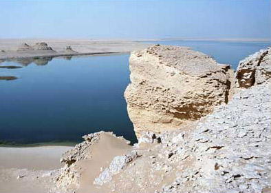 One of the lakes, surrounded by desert, at Wadi el Rayan