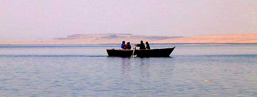 Tourists Take a Boat Ride at Wadi el Rayan
