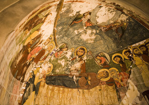The dormition scene in the north half-cupola of the choir