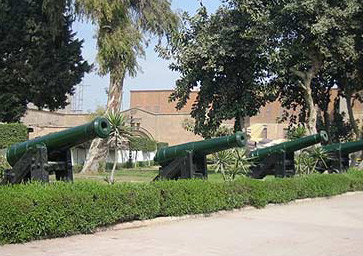 Rows of cannons leading up to the museum entrance