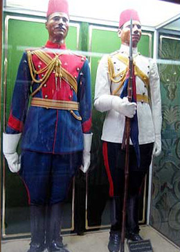 Uniforms of Egyptian soldiers, probably during the late 1800s or early 1900s