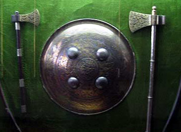 Shield and battle axes from the Islamic era, which is also the era of the Crusades