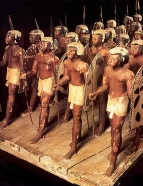 Wooden model of Egyptian  soldiers from the tomb of Mesehti