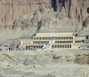 The Mortuary Temple of Hatshepsut on the West Bank at Luxor in Egypt