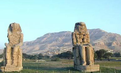 Colossi of Memnonon the West Bank at Thebes (modern Luxor) in Egypt