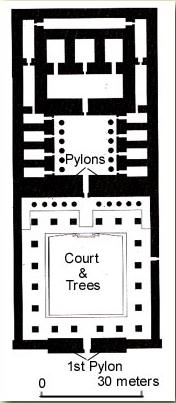 Ground Plan of the Temple of Amenophis Son of Hapu on the West Bank at Luxor, Egypt