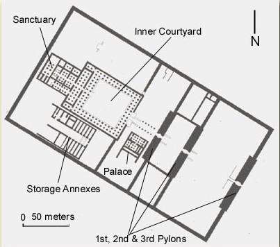 Ground Plan of the Temple of Horemheb on the West Bank at Luxor, Egypt