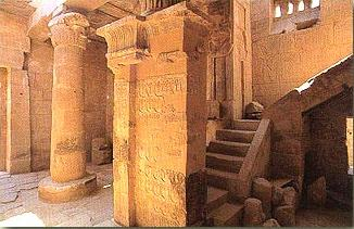 Inside the Ptolemaic (Greek) Temple of Hathor on the West Bank at Luxor
