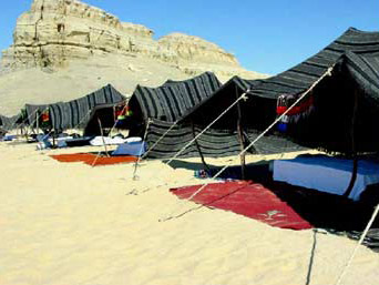 A view of tourist camping sites provided by the desert bedouins.