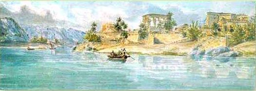 Watercolor painting of a Nile scene by J. G. Wilkinson