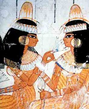 Painting on limestone from the tomb of Nebamun. Dra Abu el-Naga, West Thebes, 18th Dynasty, two beautiful ladies chating