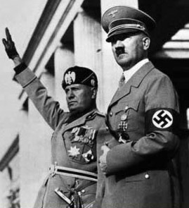 Mussolini (left with Hitler during World War II