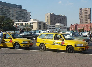 The new metered, air conditioned yellow cabs in Cairo