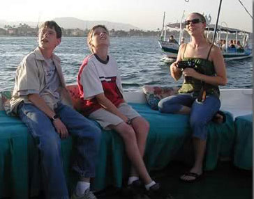 Taking a boat ride in Luxor